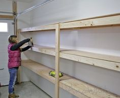 Ana White | Build a Easy and Fast DIY Garage or Basement Shelving for Tote Storage | Free and Easy DIY Project and Furniture Plans Cheap Storage Shelves, Basement Storage Shelves, Storage Room Organization, Diy Garage Storage Shelves, Wood Shelves Garage, Storage Room Ideas, Garage Shelving Plans, Build Shelves, Utility Shelves