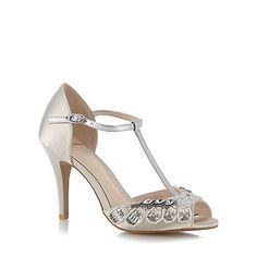 No. 1 Jenny Packham Designer ivory diamante trim high sandals   Debenhams