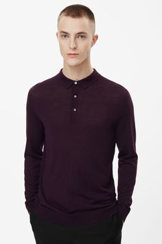 Cos Polo-neck Merino Jumper in Red for Men (Burgundy) | Lyst