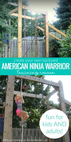 training to compete or just want to increase your fitness, you can do it in a fun way with the whole family on this DIY backyard American Ninja Warrior style training course! Details from GirlMeetsCarpenter on Backyard Gym, Backyard Obstacle Course, Backyard Playground, Backyard For Kids, Diy Backyard Projects, Kids Obstacle Course, Rustic Backyard, Modern Backyard, Large Backyard