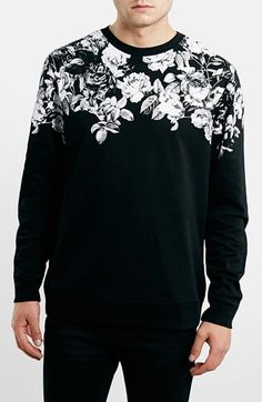 Topman Floral Yoke Print Crewneck Sweatshirt available at  Nordstrom  Printed Hoodies b7b12ff094d