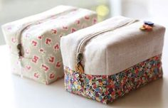 How to make cute block zipper pouch / handbag. DIY photo tutorial and template pattern. Diy Pouch Tutorial, Origami Box Tutorial, Handbag Tutorial, Diy Couture, Couture Sewing, Diy Makeup Bag No Zipper, Sewing Hacks, Sewing Tutorials, Sewing Kits