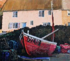 Evening Light by British Contemporary Artist Richard DACK Seaside Theme, Boat Painting, Fine Art Gallery, Limited Edition Prints, Art Pictures, Contemporary Art, West Cornwall, Sketches, Fishing Boats