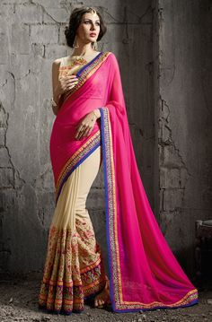 Pink Color Saree SKU No:DF4041-65443 @ www.lushika.com  #sareesonline #shopping #indianwear #saris #saree #lushika #shopnow #latestcollection