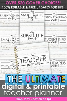 Make this your most organized school year ever with the Ultimate Teacher Planner system by Joey Udovich. This best selling teacher binder includes a print and digital version to meet your teacher organization needs. Includes a variety of pages for classroom organization, student information, lesson plans, substitute binder, student data and more. Customize your #teacherplanner to meet your needs. Includes free updates for life!  Never buy another planner again! #teacherbinder…