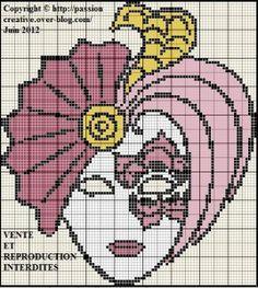 masque de carnaval point de croix - Pesquisa do Google Cross Stitch Freebies, Plastic Canvas Patterns, Le Point, Knitting Stitches, Mask Design, Hama Beads, Mardi Gras, Pixel Art, Cross Stitch Patterns