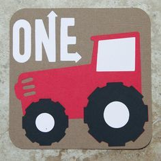 red tractor first birthday party | Tractor red and brown 10 Pack Birthday or Baby Shower Invitations on ...