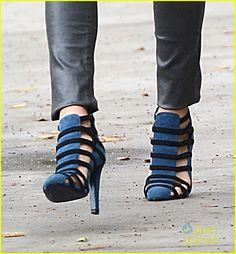 jamie chung blue caged heels