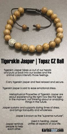 Tigerskin #jasper is about experiencing life right now like the #tiger - in the moment, not thinking about or analyzing things in the future. #pave #macrame  #Beaded #Beads #Bracelet #Bracelets #Buddhist #Chakra #Charm #Crystals #Energy #gifts #Handmade # http://kundaliniyogameditation.com/