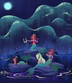 """""""Peter Pan Mermaids, a new painting I did for new… Peter Pan Mermaids, Unicorns And Mermaids, Mermaids And Mermen, Fantasy Mermaids, Mermaid Drawings, Mermaid Art, Mermaid Paintings, Vintage Mermaid, Disney Concept Art"""
