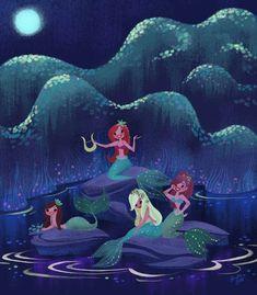 """Peter Pan Mermaids, a new painting I did for @WaltDisneyWorld new PolynesianVillasVacatioClub DeluxeStudioRooms"""