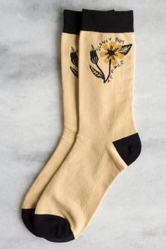 "Soft & cozy intarsia knit socks in butterscotch and black featuring our ""Slowly but Surely"" design on the inside and outside ankle.One size fits most (approx. US womens sizes US mens sizes Funky Socks, Crazy Socks, Cute Socks, Colorful Socks, Knitting Socks, Knit Socks, Designer Socks, Sport Socks, Fashion Socks"