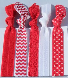 Valentine Hair Tie 5 Pack/ University of Nebraska