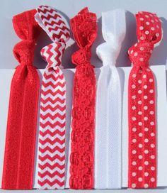 Valentine Hair Tie 5 Pack/ University of Nebraska