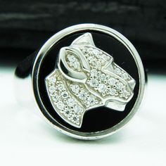 WHITE CZ PANTHER RHODIUM PLATED 925 STERLING SILVER US Size 10.5 MEN BIKER RING  #Handmade