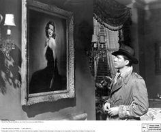 Dana Andrews (Detective McPherson) falls in love with the stunning portrait of our heroine Laura