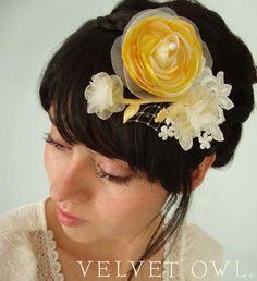 Yellow Ranunculus bridal fascinator comb or clip and detach birdcage veil- SAVANNAH. $91.00, via Etsy.