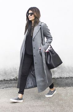 Fashion Landscape | Grey Coat, Slip Ons, Mansur Gavriel Bucket Bag