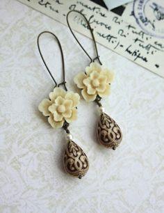 Ivory Sakura Flower, Cream Ivory Brown Ornate Bead Earrings |By Marolsha.