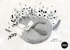 #INKtober day 1 Sleeping fox - Original artwork, ink on handmade paper