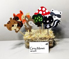 Woodland Creature Cupcake Toppers-Set of 14 Woodland by GreyMonet