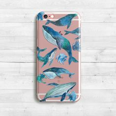 Blue Whale Case, iPhone SE, iPhone 6s, 6s plus iPhone 7 case, iPad Mini iPad Air Samaung Galaxy S6, S7 Clear Case Sea Case Ocean Fish Case