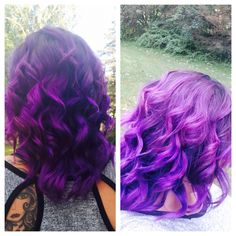 Purple Hair Goldwell color at root and Joico Color Intensity Orchid on ends. Babyliss wand for the curls.