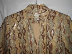 CACHE Women/Junior Sz 4 Jacket SNAKE SKIN Look Lined Fitted Long Sleeve V-Neck   #Cach #BasicJacket