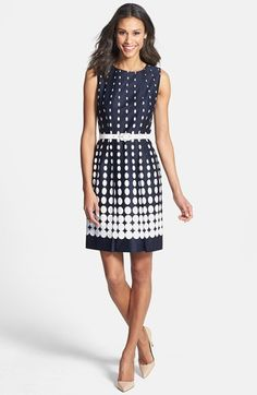 Tahari Gradient Dot Print Stretch Cotton Dress (Regular & Petite) available at #Nordstrom