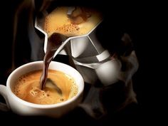 Pouring coffee from a Moka-Express stove top But First Coffee, I Love Coffee, Coffee Break, Best Coffee, Morning Coffee, Moka, Espresso Coffee, Black Coffee, Bar Kunst