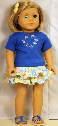 Ruffled Skirt and Embroidered T Shirt by buttonandbowboutique, $24.00