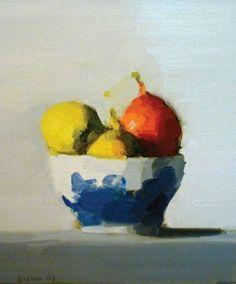 Stanley Bielen, Bowl-Forelle Pears. 2008.  Paintings. Oil on prepared panel. h: 11.1 x w: 9.8 in / h: 28.2 x w: 24.9 cm