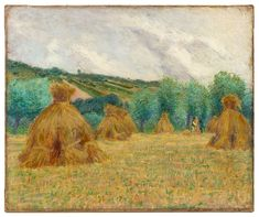 """Haystacks,"" John Leslie Breck, oil on canvas, 18 x private collection. Fine Art Auctions, Norman Rockwell, Global Art, Pablo Picasso, Art Market, American Art, Impressionism, Oil On Canvas, Museum"