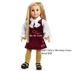 American Girl Doll Julie's Christmas Dress