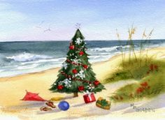 Whimsical Christmas Tree on the Beach Holiday Cards.