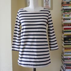 J. Crew 'Petit Bateau'-style striped top Summer-ready J. Crew top with navy and cream stripes. Heavier material with a little texture. Size Xs but also fits a small-chested Small. Great condition. Three quarter sleeves. J. Crew Tops Tees - Long Sleeve