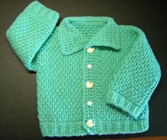 Ayasha Baby Cardigan in Tunisian Crochet.  size: 12months