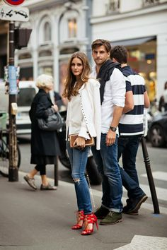 Olivia Palermo and boyfriend Johannes Huebl during Paris Fashion Week.