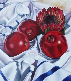 Artist Ilse KLeyn - Africa Praying for Israel Biblical Hebrew, Biblical Art, Israel, Protea Art, Pomegranate Art, Apple Art, Prophetic Art, Jewish Art, Art Pictures