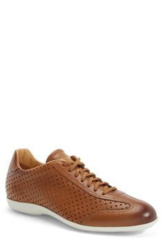 Santoni 'Tailor' Perforated Leather Sneaker (Men) available at #Nordstrom