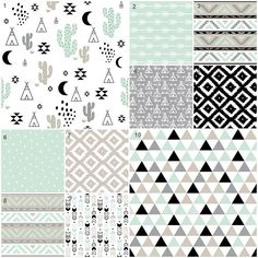 Boy Crib Bedding, Mint Baby Bedding, Teepee, Cactus, Desert, Tribal Crib Bedding, Boy Nursery, Black and White, Triangles, Gender Neutral
