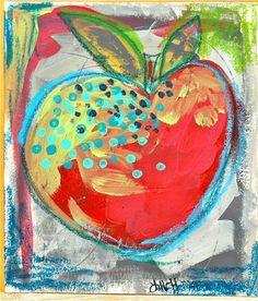 Apple Art, Fruit Painting, Naive Art, Art Background, Art Journal Inspiration, Art Journal Pages, Whimsical Art, Teaching Art, Cool Artwork