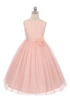 Blush Sleeveless Lace Detailing Flower Girl Dress with Overlay Tulle Skirt