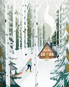 Image may contain: outdoor Illustration Noel, Winter Illustration, Forest Illustration, Christmas Illustration, Winter Art, Winter Snow, Christmas Art, Winter Christmas, Xmas