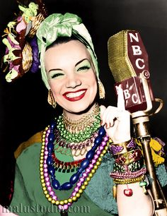 Carmen Miranda (born Maria do Carmo Miranda da Cunha; Solo samba singer & musical film/theater vocalist. Her Brazilian theatricality is considered the precursor of Brazil's Tropicalismo, cultural movement of the 1960s. She was the first Latin American star to be invited to imprint her hands & feet in the courtyard of the Grauman's Chinese Theatre in 1941. Won a star on the Hollywood Walk of Fame, & is the subject of a museum in Rio de Janiero.)