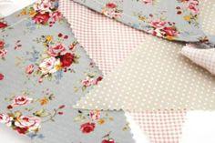 Shabby Vintage Chic Spotty Floral Fabric Garden Tea Party Wedding Flag Bunting   eBay