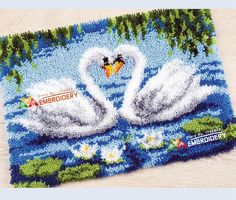 Hot! Latch Hook Rug Kits DIY Needlework Unfinished Crocheting Rug Yarn Cushion Mat Swan Lovers Embroidery Carpet Rug Home Decor