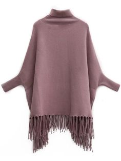 Coffee Turtleneck Batwing Sleeve Fringe Cape Sweater -SheIn(Sheinside) Mobile Site
