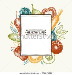 Vector card design with ink hand drawn vegetables and spice sketch. Vintage healthy food illustration.