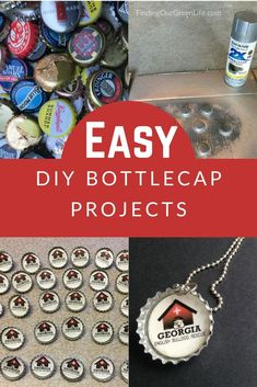 Got a box full of bottle caps and nothing to do with them? Channel your inner creativity with one of these easy bottle cap projects. Tutorial included. Diy Bottle, Bottle Caps, Bottle Cap Projects, Bulldog Rescue, Green Life, Diy Cleaning Products, Natural Living, Helpful Hints, Easy Diy